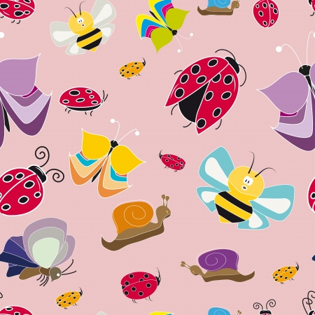 colorful pattern with butterflies ladybug Vector