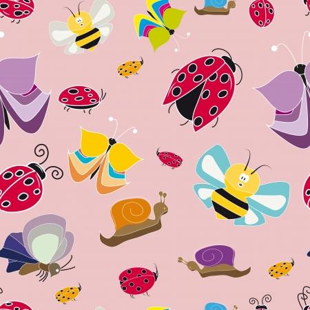 ladybug cartoon: colorful pattern with butterflies ladybug