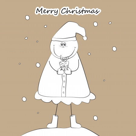With Christmas the girl and a cap holds a gift Vector