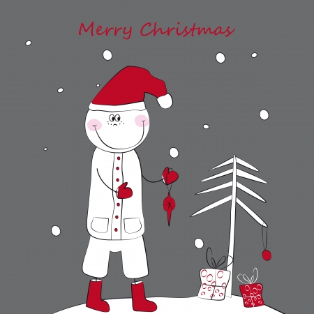 With Christmas the boy in a red cap gifts a fur-tree Vector