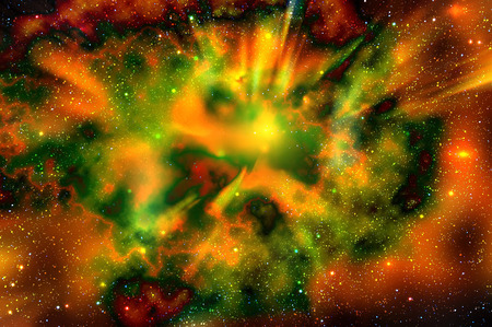 nebulae: Abstract fiery space background with nebulae, stars and the explosion of a supernova in deep space