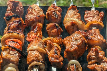carnes y verduras: Shish kebab apetitoso en pinchos de metal, a la parrilla al aire libre en un día de campo. Foto de archivo