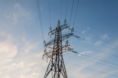 power line tower: Single power line tower on the sky background