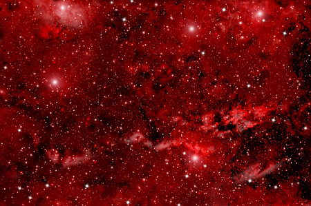 Colorful abstract background of deep space with red nebula and stars Stock Photo