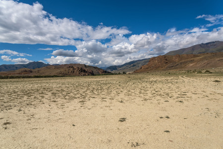 mountains and sky: Scenic desert steppe landscape with mountains. Dry land with rare plants as the foreground and mountains, sky and clouds in the background.