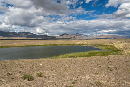 desert vegetation: Scenic view of a beautiful lake in the desert with trees and vegetation on the banks on a background of mountains, blue sky and clouds Stock Photo