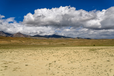 scenic  landscape: The picturesque steppe desert landscape with mountains and the dry ground with rare plants on a background of blue sky and clouds