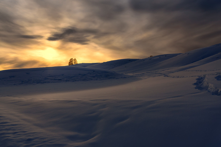 sunset tree: Scenic winter view with mountains covered with snow, trees and snowdrifts on the background of the setting sun and the sky with clouds Stock Photo