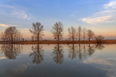 Beautiful landscape with trees, blue sky and clouds are reflected in the smooth water of the river in the light of the setting sun Stock Photo