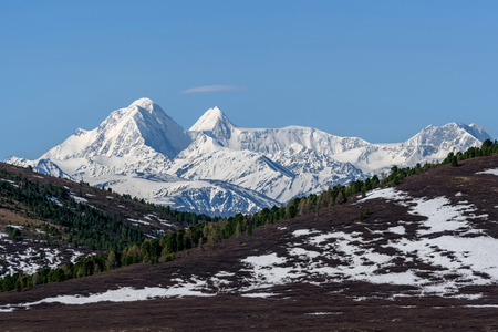 Scenic view with the beautiful mountain peaks with snow and glaciers, slopes covered with snow and sparse brown vegetation and cedar trees against a blue sky