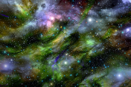 Bright abstract background with many different stars, glowing nebulae and cloud formations in deep space