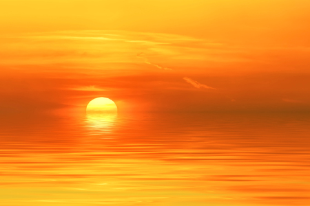 Colorful abstract background with sun on a fiery orange sky with reflection in water