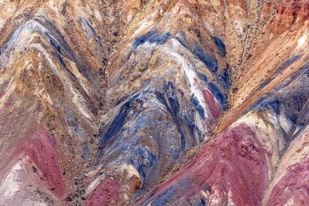 Amazing abstract background of textures of colored rocks with cracks, fractures and rare vegetation