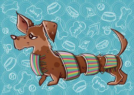 Funny dachshund in a scarf. Hand-drawn