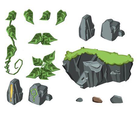 Set of rocks and leaves Stock Illustratie