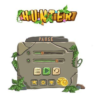 Pause Stone Game Menu illustration Vectores