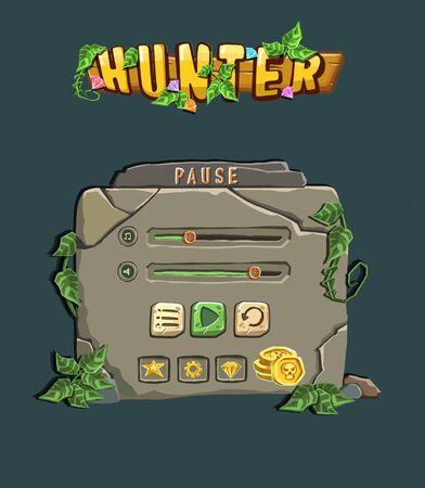 Pause Stone Game Menu illustration 向量圖像