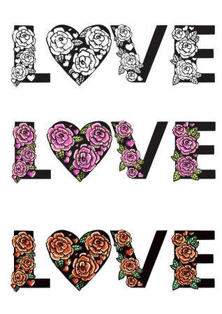 Pink roses love pattern. 矢量图像