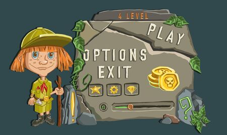 girl explorer following path. Vector illustration