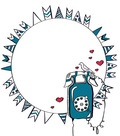 Blue telephone. Round frame with check marks. Vector illustration