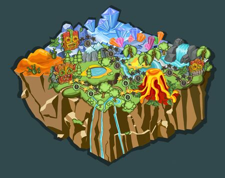 Set of Level Maps Assets. Game map for casual game Illustration