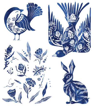 Blue painted duck, hare, flowers and titmouse