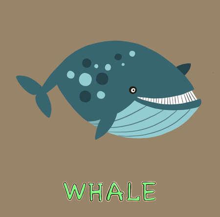 design Cute whale. small icon for stock. Vector illustration