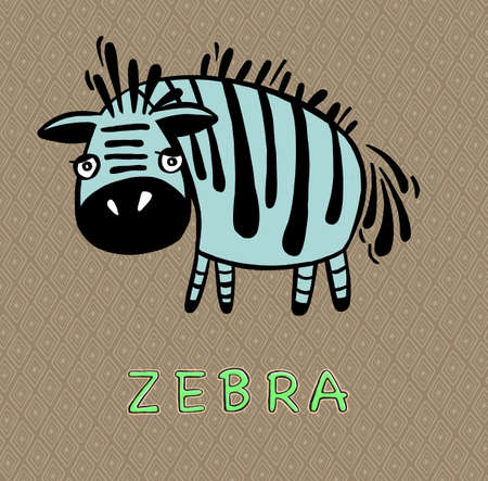 Cartoon zebra head, animal head vector