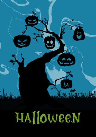 Scene with Halloween tree, illustration Illustration