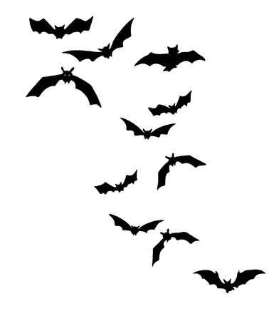 Shocking black bats group isolated Halloween Illusztráció