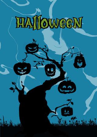 Scene with Halloween tree, illustration