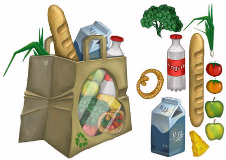 Merchandise and consumer products shopping bag . Иллюстрация