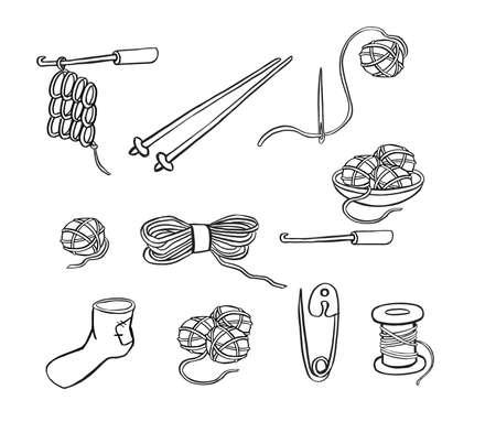 set of wooden and plastic bobbins, spools