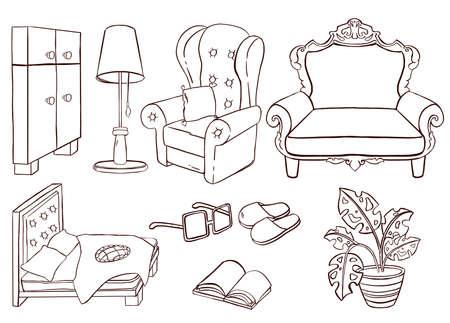 Set of furniture in bedroom. Vector illustration