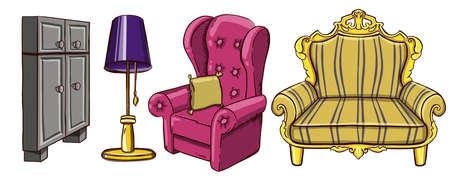 Set of furniture in bedroom. Vector illustration Illustration