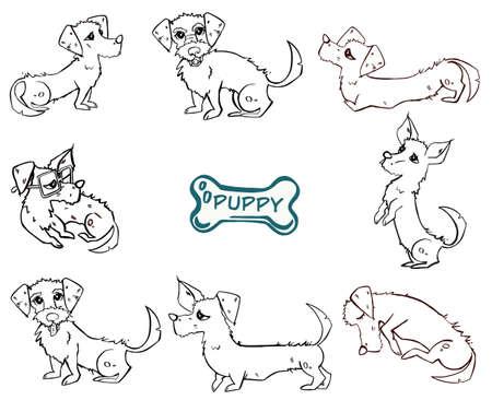 Dog Emotions Cartoon Illustration Set. Vector illustration 向量圖像