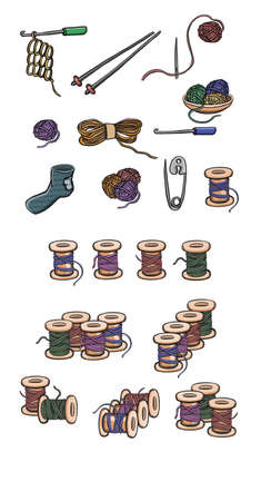set of wooden and plastic bobbins, spools with colored thread isolated on background. Vector illustration
