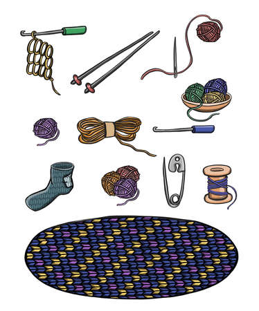 set of wooden and plastic bobbins, spools with colored thread isolated on background. Equipment for sewing, tailoring, accessory for needlework and clothing repair. Vector illustration