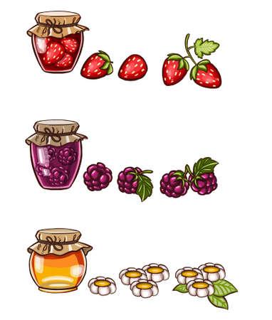 Jars of jam. Harvest for the winter. Vector illustration