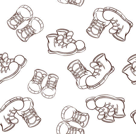 Sneakers At Various Angles Outline. Vector illustration