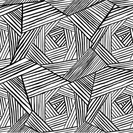 The geometric pattern by stripes. Seamless vector background. Black and white texture. Graphic modern pattern. Vector illustration