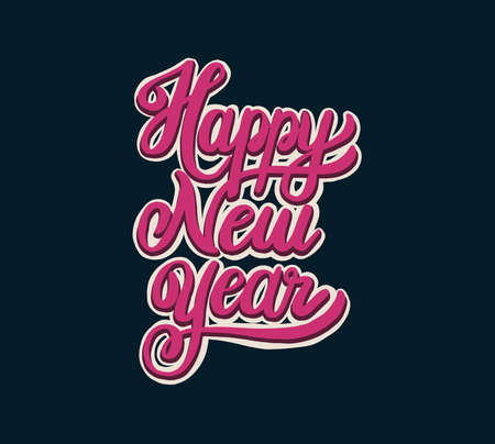 Happy new year lettering. Vector illustration