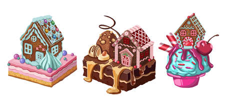 gingerbread house. Christmas cookies and candy. Vector illustration