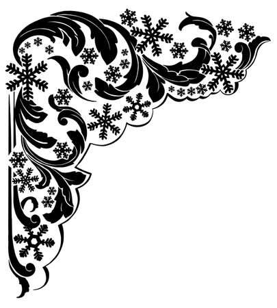 Winter banner with blue snowflakes, frost. Vector illustration