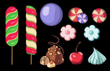 Set of different Sweet lollipops. Vector illustration 向量圖像