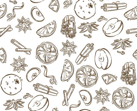 Christmas spices, star anise, apple. High quality illustration