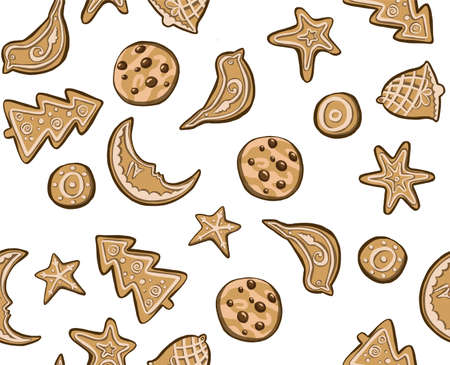 alphabet holidays ginger cookie isolated. Merry Christmas and Happy New Year figures cover by icing-sugar. Stock Photo