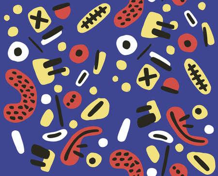 Hand drawn various shapes and doodle objects. Modern contemporary trendy illustration. ... Vector illustration Illusztráció