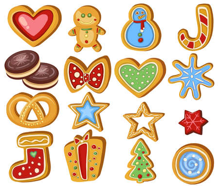 Set of gingerbread Holiday sweet cookie isolated. Vector illustration