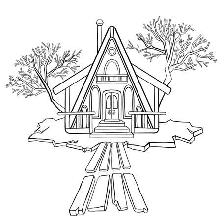 Coloring book, winter night house in the mountains. Vector illustration